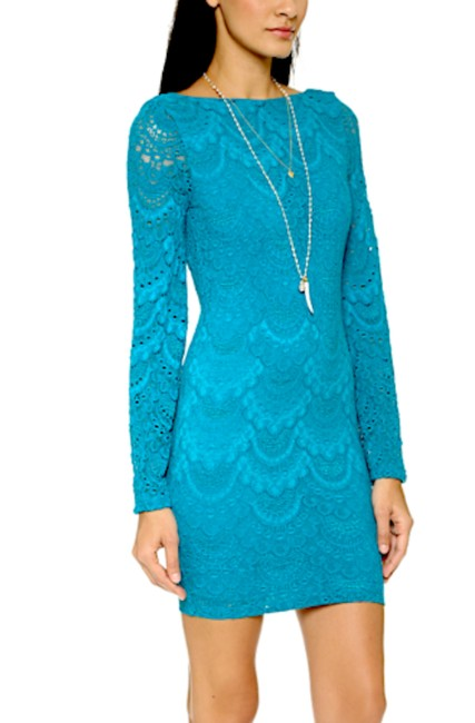 Nightcap short dress Blue Bell Long Sleeve Clothing Lace Bodycon Chic Cocktail Fitted Stretchy Mini Boho on Tradesy Image 3