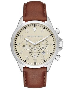Michael Kors Michael Kors Men's Chronograph Gage Brown Leather Strap Watch MK8441