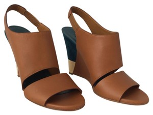 Chloé Chloe Leather Suede Brown and Teal Wedges