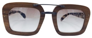 Prada Prada Wood and Brown Tortoise Square Sunglasses SPR 30R 51