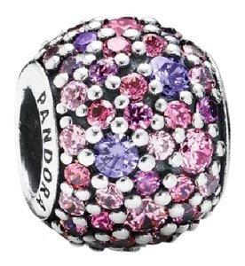 PANDORA Pandora Pink & purple multicolor Pave charm in original gift pouch