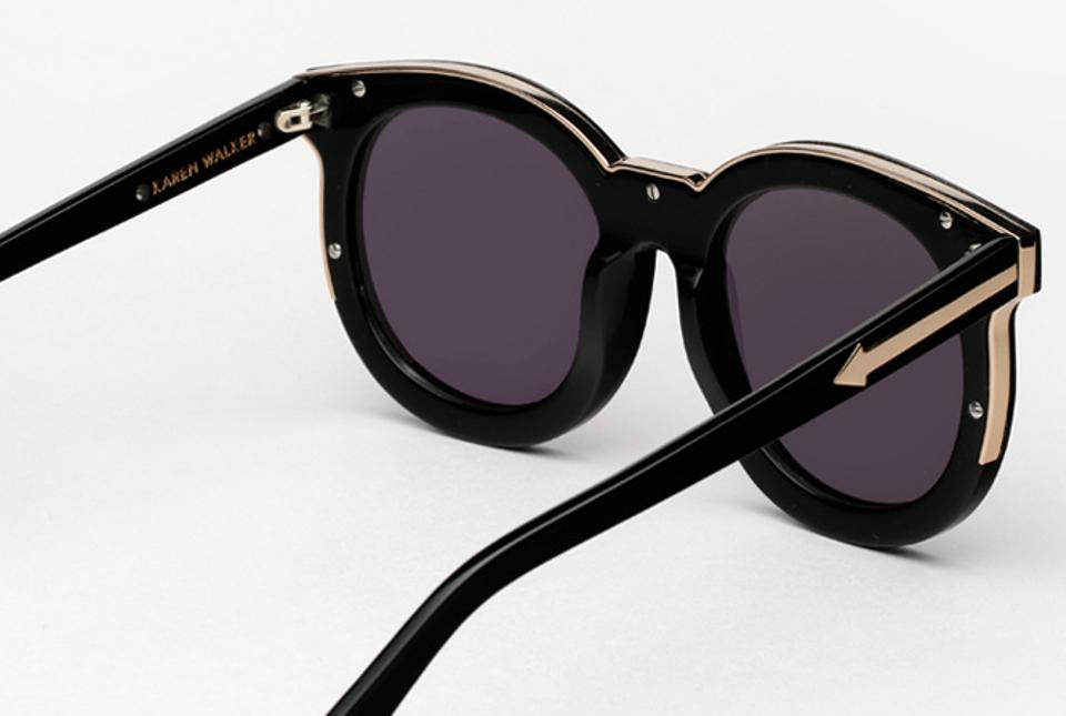 dd68f8382f5 Karen Walker Black   Gold Super Duper Thistle Sunglasses - Tradesy