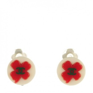Chanel CHANEL Resin CC Clover Clip On Earrings