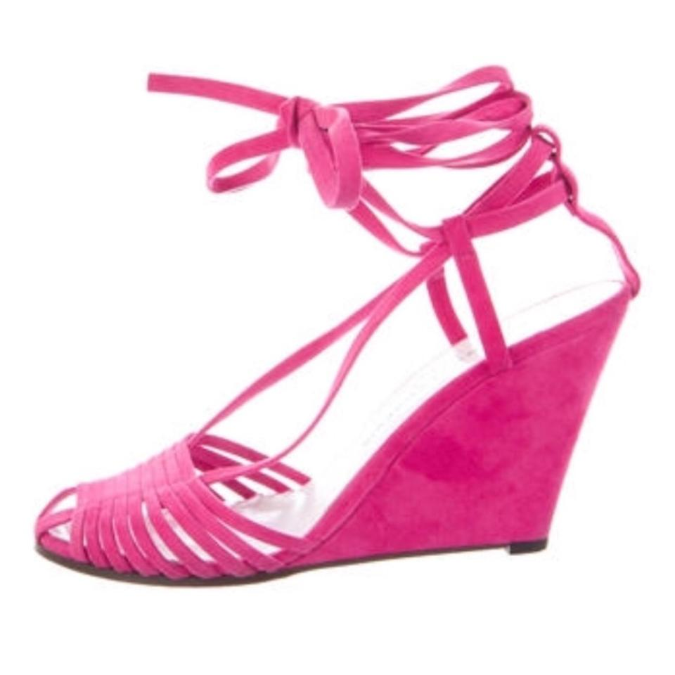 3593a7846e80f3 Robert Clergerie Pink Magenta Hot Suede Wrap Up Lace Wedges Size US ...