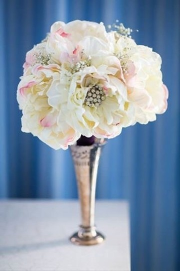 Off White Silk Peony Flowers with Splash Of Pink and Brooches Added Handmade Large Bouquet