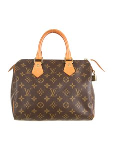 Louis Vuitton Leather Monogram Speedy Canvas Satchel