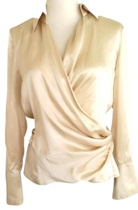 Ann Taylor 100% Silk Petite Wrap Cream Top