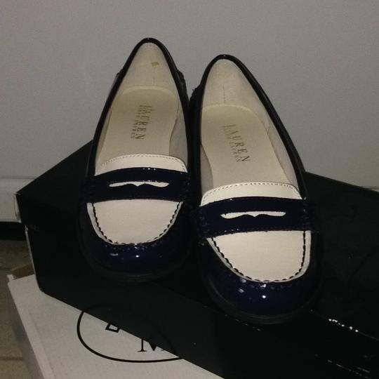 Ralph Lauren Blue and White Gaston Penny Loafer Flats Size ...
