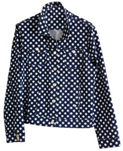 Kate Spade Denim Navy Check Blue and white Womens Jean Jacket