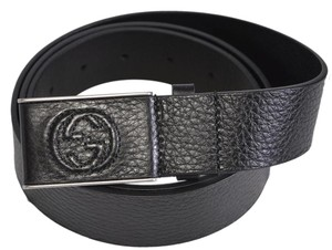 Gucci New Gucci Men's 368188 Black Leather Interlocking GG Buckle Belt 34