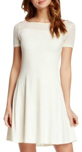 Three Dots short dress Ivory Short Sleeves Lace A-line Square Neck on Tradesy