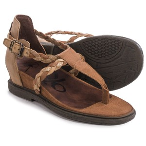 OTBT Leather Braided Walkers Havana Brown Sandals
