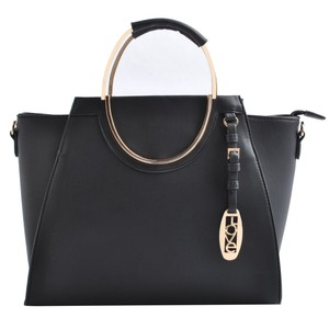USO COUURE With Flower Leather Bagsforwomen Fashionforwomen Tote in Black