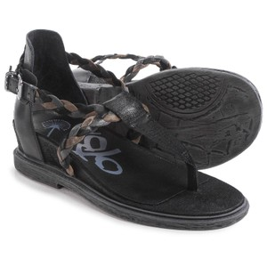 OTBT Leather Braided Walkers Black Sandals