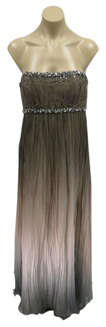 Item - Taupe and Blue W Strapless Chiffon Gown W/Empire Waist Of Crystals - 40 Long Formal Dress Size 4 (S)