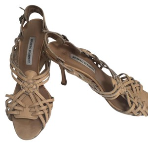 Manolo Blahnik Gladiator Heels Leather beige Sandals
