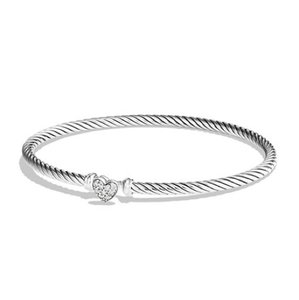 David Yurman Cable Collection Heart Bracelet with Pav Diamonds
