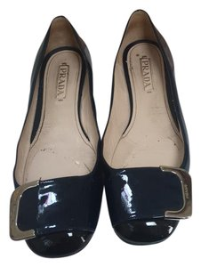 Prada Patent Loafer Buckle navy blue and black Flats