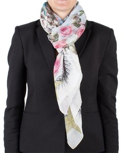 Givenchy Givenchy Women's Chain Border Floral Pattern Cotton Scarf Large