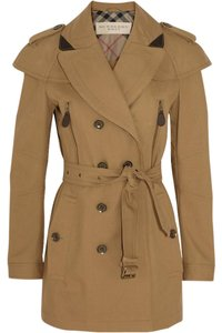 Burberry Leather Trench Camel Cape Spring Trench Coat