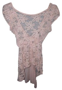 Love Culture Lace Chiffon Bow Asymmetrical Top Pink
