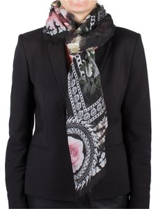 Givenchy Givenchy Women's Chain Border Floral Pattern Cashmere Scarf Large