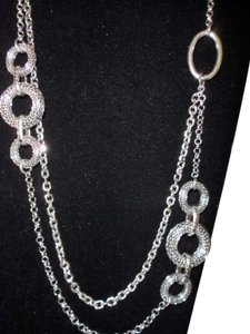 Premier Designs RUNWAY Long Silver Layered Necklace New In Box RV $41