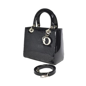 Dior Patent Lady Medium Cannage Tote in Black