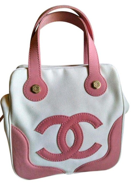 Item - 8733803 Pink and White Canvas Satchel