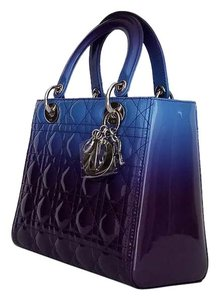 Dior Lady Lady Lady Lady Medium Lady Patent Tote in Gradient purple and blue