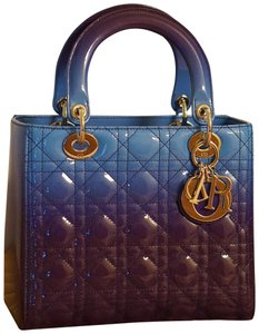Dior Lady Lady Purse Lady Lady Medium Lady Patent Tote in Gradient purple and blue