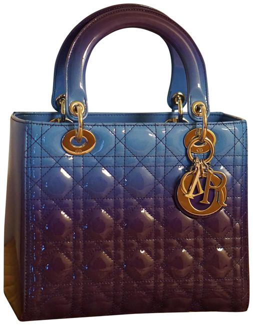 Item - Lady Gradient Purple and Blue Patent Leather Tote