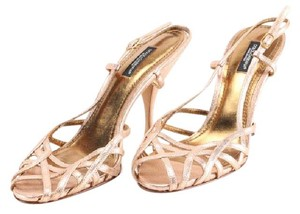 Dolce&Gabbana Slingback Metallic Leather rose gold Sandals