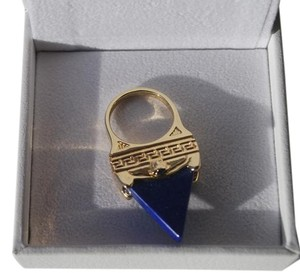 Versace Gold plated w/ Pyramid Lapis Medusa Ring $450 us 8