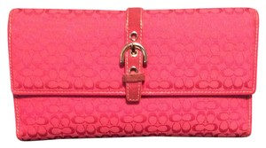 """Coach Coach Signature """"Hot Pink"""" Wallet and Check Book cover"""