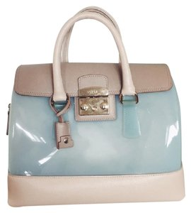 Furla Candy Rubber Leather Mint Green Satchel