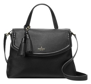 Kate Spade Orchard Street Cambria Pebbled Leather Satchel in Black