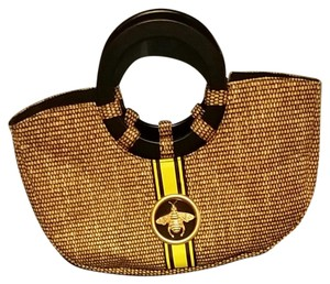 Braciano Satchel in Black and yellow