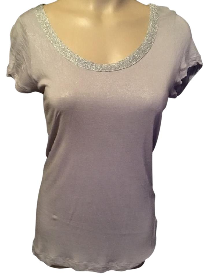 ea9c9586 Juicy Couture Gray/Silver Embellished Neck Tee Shirt Size 6 (S ...