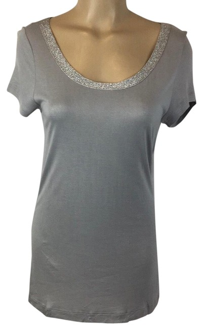 Item - Gray/Silver Embellished Neck Tee Shirt Size 6 (S)