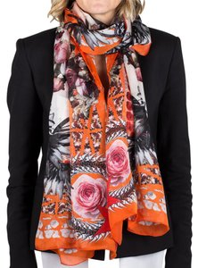 Givenchy Givenchy Women's Chain Border Floral Pattern Silk Scarf Large