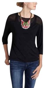Anthropologie Sheer Hi Lo On Trend Night Out Date Night Top Black