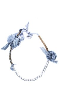 Lanvin Light Blue Distressed Floral Necklace With Faux Pearls
