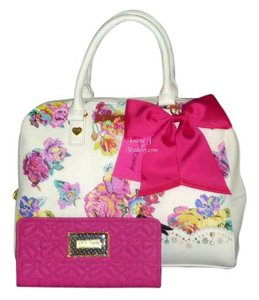 Betsey Johnson Floral Fuchsia Bow Wallet Satchel in WHITE MULTI COLOR