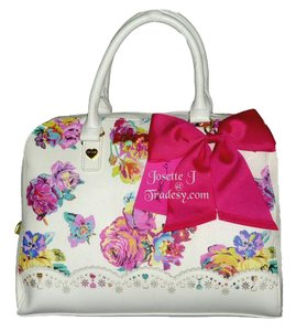 Betsey Johnson Floral Fuchsia Bow Satchel in WHITE MULTI COLOR