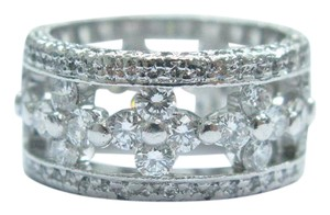 Other 18Kt Round Cut Diamond WIDE Band Ring White Gold 3.38CT F/VVS-VS