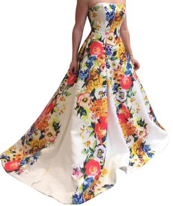 Jovani Floral Strapless Gown Ball Gown Sweetheart Dress