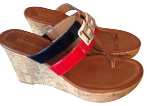 Tommy Hilfiger navy blue & red Wedges
