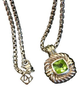 David Yurman David Yurman PERIDOT Cushion Pendant Cable and Box Chain Necklace