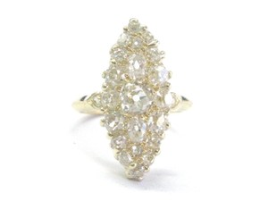 Other 18Kt Vintage Old Mine Cut Diamond Cluster Yellow Gold Jewelry Ring 2.1